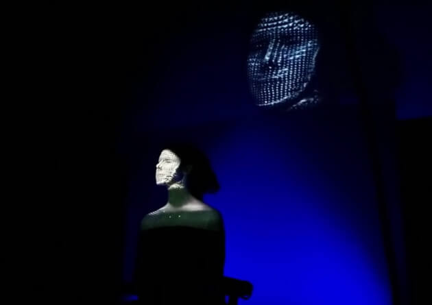 Live-Echtteim-Gesichts-Projektion an einem Sephora Event.