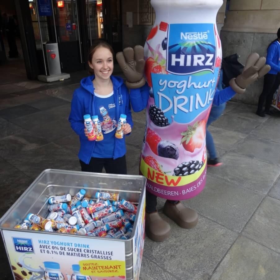 Promotion Agentur Spool - Hirz Yoghurt am Morgen vertreibt Kummer und Sorgen