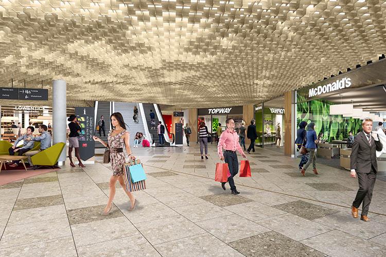 Innenansicht Visualisierung Mall of Switzerland