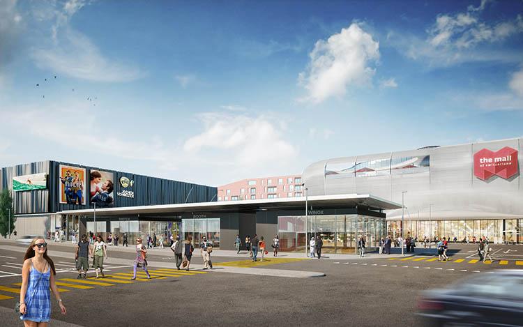 Visualisierung Aussenansicht der neuen Mall of Switzerland.